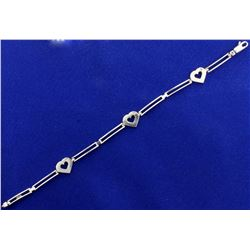 Italian Made Diamond Heart Bracelet in 14k White Gold