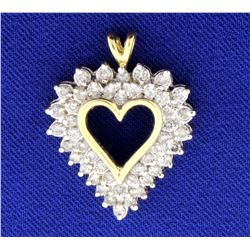 1ct Total Weight Diamond Heart Pendant in 10k Gold