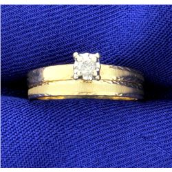 Diamond Engagement Ring and Wedding Band Set in 14k Yellow Gold