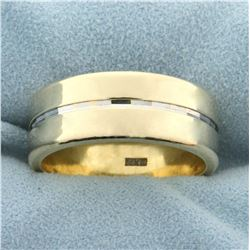 Unique 14K Yellow and White Gold Wide Wedding Band Ring
