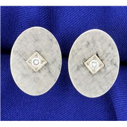 Diamond Cufflinks in 14k White Gold