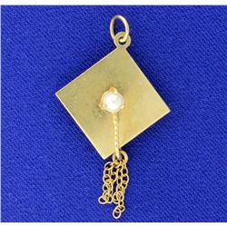 Graduation Cap Pearl Pendant in 14k Yellow Gold