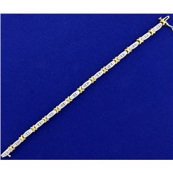 1.25ct TW Diamond Bracelet in 14k White and Yellow Gold