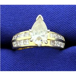 3 1/2ct TW Pear Shaped Diamond Engagement Ring in 18k Yellow Gold