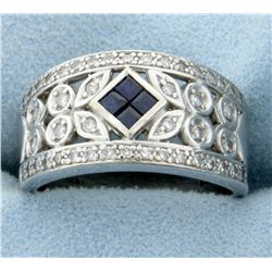 Diamond and Sapphire Art Deco Band Ring in 14k White Gold