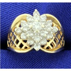 1 ct TW Diamond Cluster Ring in 14k Yellow Gold