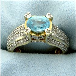 Unique Sky Blue Topaz and 100 Diamond Ring in 14k Yellow Gold