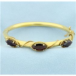 6ct TW Garnet Bangle Bracelet in 14k Yellow Gold