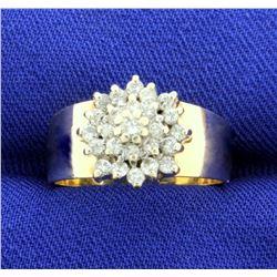 1/2 ct TW Diamond Cluster Ring in 14k Gold