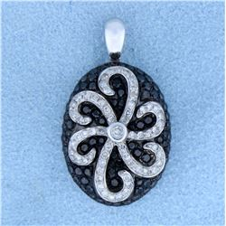 1 ct TW Black & White Diamond Designer Pendant in 14k White Gold