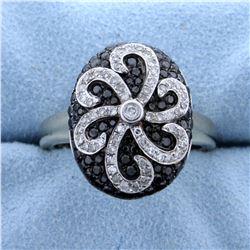 1 ct TW Black & White Diamond Designer Ring in 14k White Gold