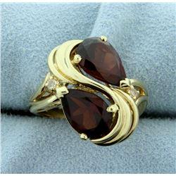 Designer Garnet and Diamond Ring in 14k Yellow Gold