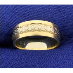 6.5mm White and Yellow Gold Wedding Band in 14k Yellow and White Gold