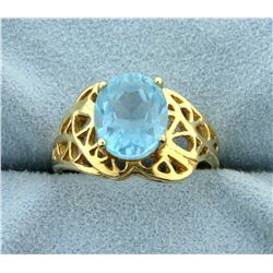3ct Blue Topaz Ring in 14k Yellow Gold