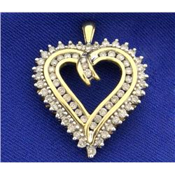 1 1/4ct TW Champagne and White Diamond Heart Pendant in 10k Yellow Gold