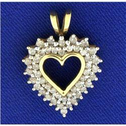 1/2ct TW Diamond Heart Pendant in 10k Yellow Gold