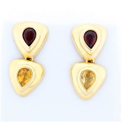 Citrine and Garnet Dangle Earrings in 14k Yellow Gold