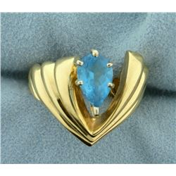 1.5ct Blue Topaz Ring in Designer Setting in 14k Yellow Gold