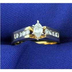 3/4ct TW Diamond Marquise Engagement Ring in 14k Yellow Gold