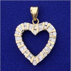 1ct TW Diamond Heart Pendant in 14K Yellow Gold