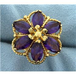 Large Flower Design Amethyst Statement Ring in 14k Yellow Gold
