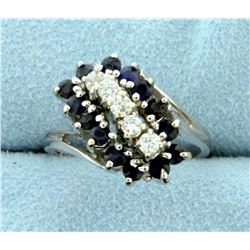 Natural Sapphire and Diamond Ring in 14k White Gold