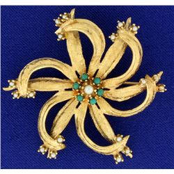 Large Vintage Seed Pearl PinWheel Pin in 14k Gold