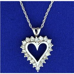 1ct TW Diamond Heart Pendant with Chain in 10k White Gold