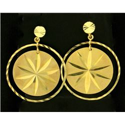 Round Star Design Dangle Earrings in 14k Yellow Gold