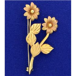 Italian Made Vintage Flower Pin in 14k Yellow and Rose Gold