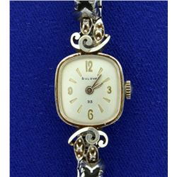 Vintage Solid 14k Gold and Diamond Woman's Bulova Watch