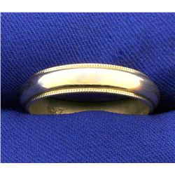 Men's Beaded Edge Wedding Band Ring in 14k Yellow Gold