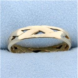 Vintage Hand Crafted Wedding Band Ring with Woven Design in 14k Yellow Gold