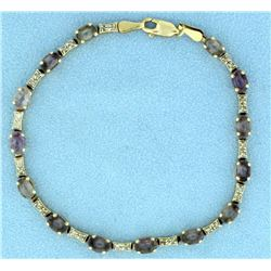 Diamond and Amethyst Bracelet in 14k Yellow Gold