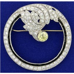 Antique Hand Crafted Fancy Yellow and White Diamond Brooch Pin in Platinum