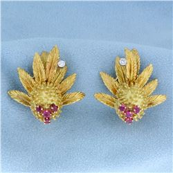 Antique Clip-On Diamond and Ruby Lychee or Dragon Fruit Design Earrings in 18k Yellow Gold