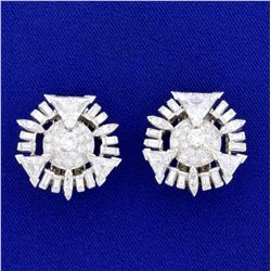 Vintage 10ct TW Trillion, Round, and Baguette Diamond Earrings in 14k White Gold