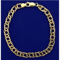 Designer Double Curb Link Charm Bracelet in 14k Yellow Gold