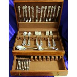 Reed and Barton Rose Cascade 59 Piece Solid Sterling Silver Flatware Set