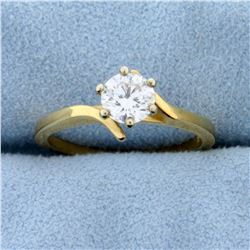 Over 1/2ct Diamond Solitaire Engagement Ring in 14k Yellow Gold Bypass Setting