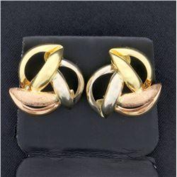Rose, White and Yellow 14k Gold Designer Earrings