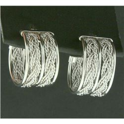 Wide Woven Style Hoop Earrings in 14k White Gold