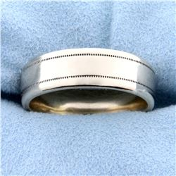 Men's 7mm Wide Wedding Band Ring with Beaded Edge in 14k White Gold