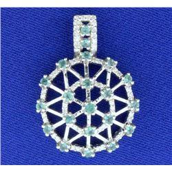 Tsavorite Garnet and Diamond Pendant in 14k White Gold