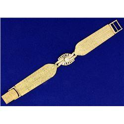 Vintage 1.5 ct TW Diamond Woven Mesh Style Bracelet in 14k Yellow Gold