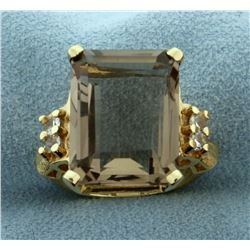 10ct Smoky Topaz and White Sapphire Ring in 14k Yellow Gold