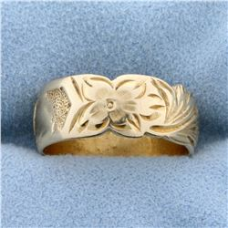 Antique Hand Crafted Flower and Heart Band Ring in 14k Yellow Gold