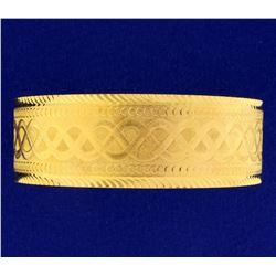 Dubai Made Wide Bangle Bracelet in 22k Yellow Gold