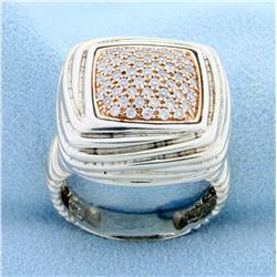 Effy Designer Diamond Ring in Sterling Silver and 14k Rose Gold