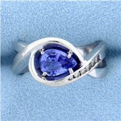 Diamond and Tanzanite Infinity Ring in 14k White Gold